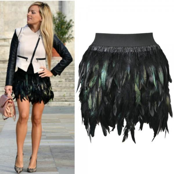 6b3dbcbd8 Autumn Latest New Women Feather Mini Skirt Elastic Waist High Street One  Size Fits For Xs-L Free #20514