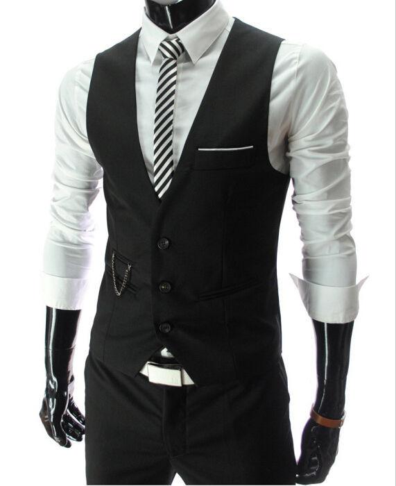 e60115cee0 4 Colors Vintage Men Suit Vest New Brand Designer Formal Business Dress  Waistcoat Slim Gilet Man #78186