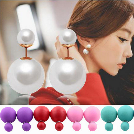 New Double sides Shiny Pearl Ball Womens Girls Stud Earrings Fashion Jewelry