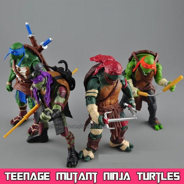 4Pcs Teenage Mutant Ninja Turtles Classic Kids Toy 5/'/' TMNT Figures PVC Toys Set