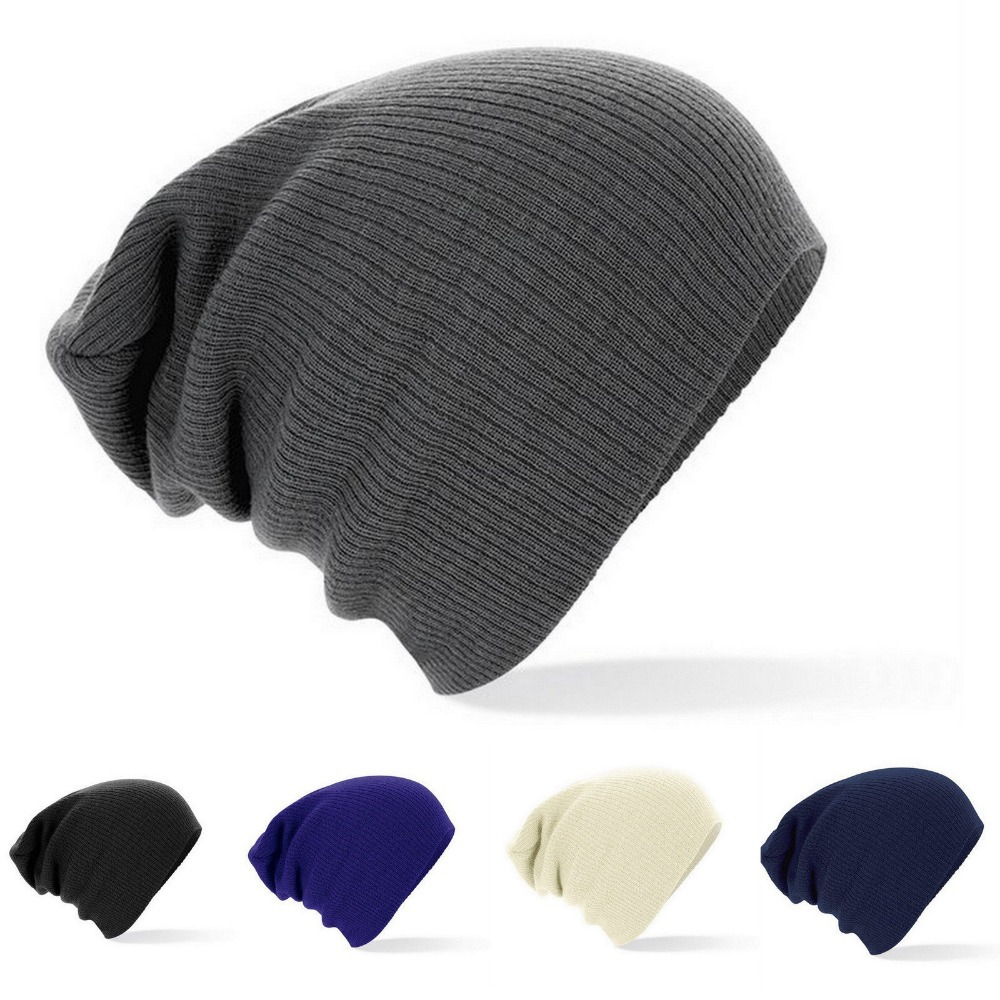 New Winter Beanies Solid Color Unisex Plain Warm Soft Beanie Skull ... a36568d39f5