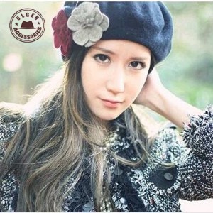 7ebfb5f15173cb Autumn And Winter Warm Three Flower Cashmere Beret Painter Hats #86770
