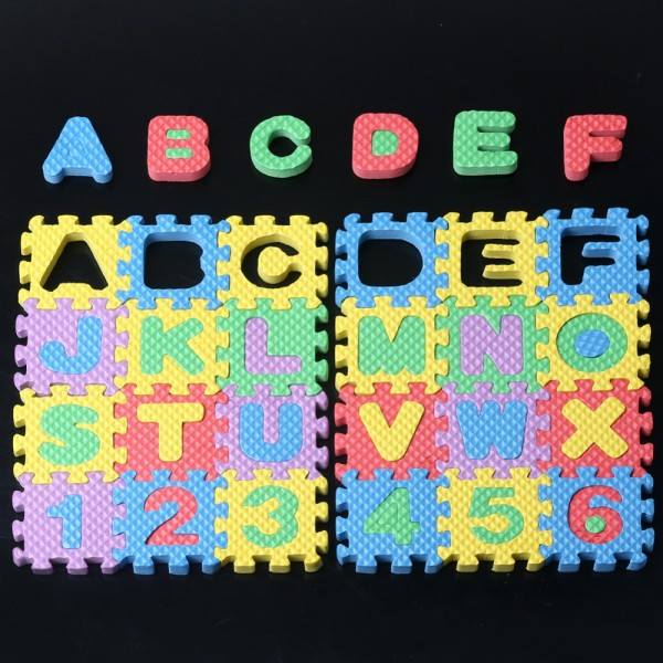 36pcs Unisex Mini Puzzle Kid Educational Toy Alphabet Letter Numeral Foam Mat US