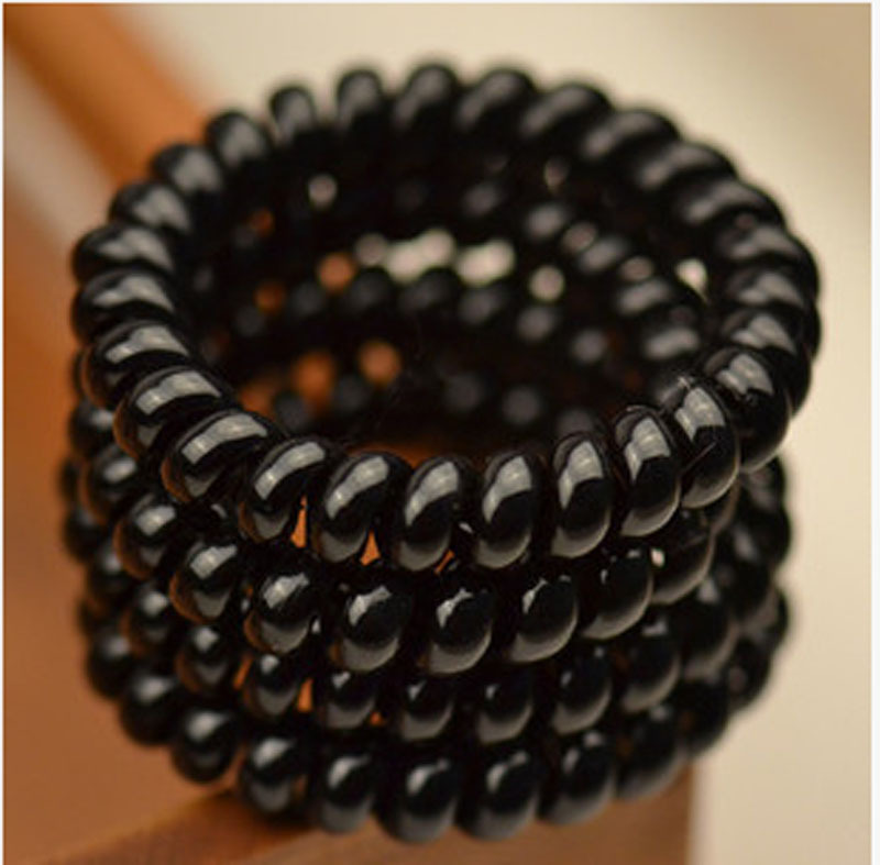 4Pcs lot Women Ladies Girls Hair Bands New Black Elastic Rubber Telephone  Wire Style Hair Ties    82616  65a99fb993a