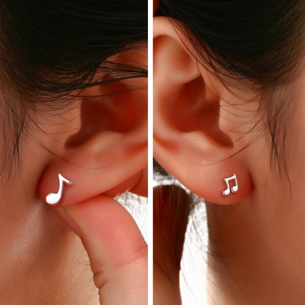 925 Sterling Silver Jewelry Cute Musical Notes Ear Studs