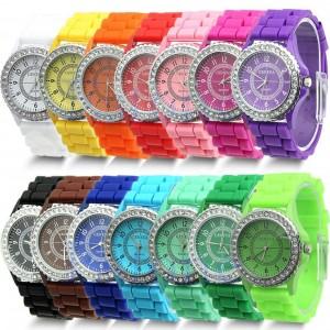 f636ab2ca6a 14 Colors Fashion Silicone Geneva Watch Hot Selling Women Dress Watch Women  Rhinestone Watches  53327