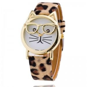 b8b1003b953 10 Colors Leather Strap Watch Glasses Cat Watch Women Watches Fashion  Geneva Watch Quartz Watch  79731