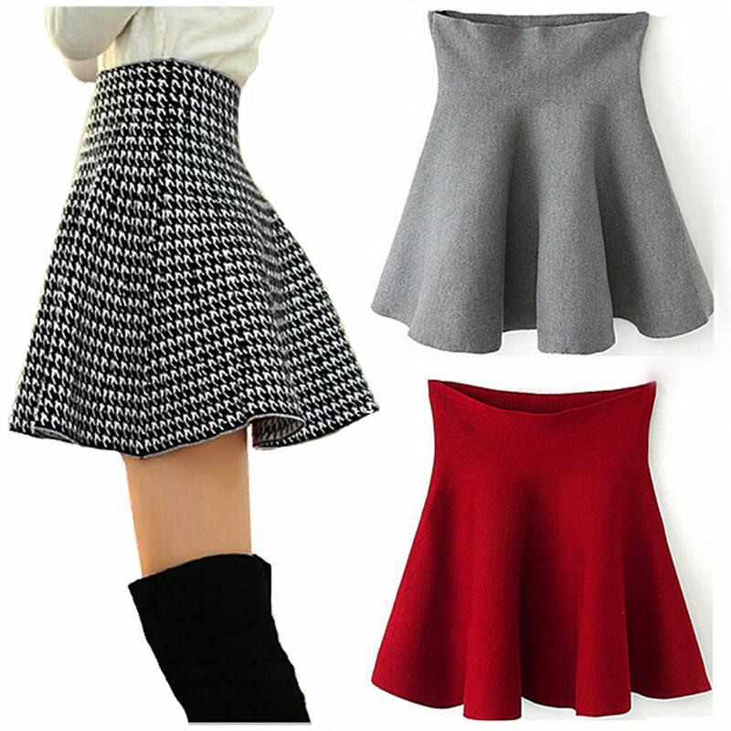 New Autumn Winter Short Skirts Woman High Waist Woolen Skirt ...