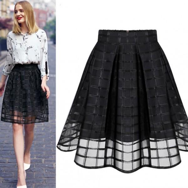 487decbcf0c New Womens Mesh Long Skirt Transparent Skirts High Waist Pleated Midi Skirts  Organza Saia Feminino  67940