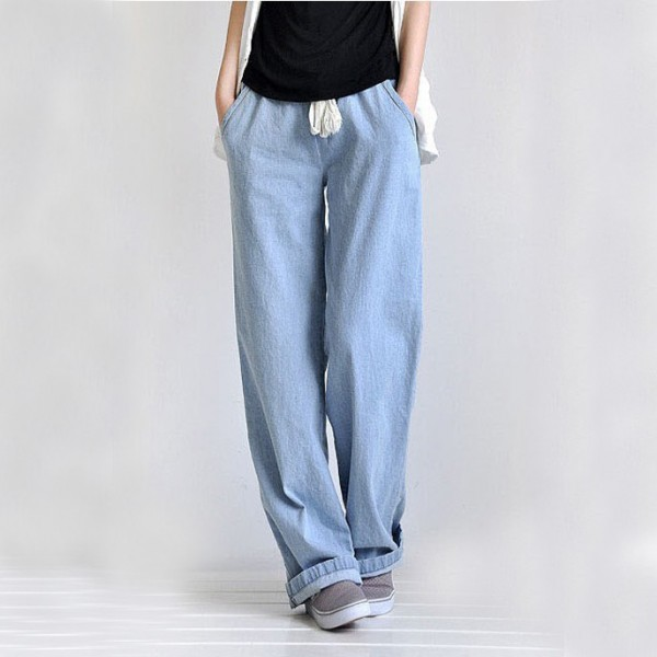 Plus Size Casual Comfortable Loose Wide Leg Pants Women's Straight ...