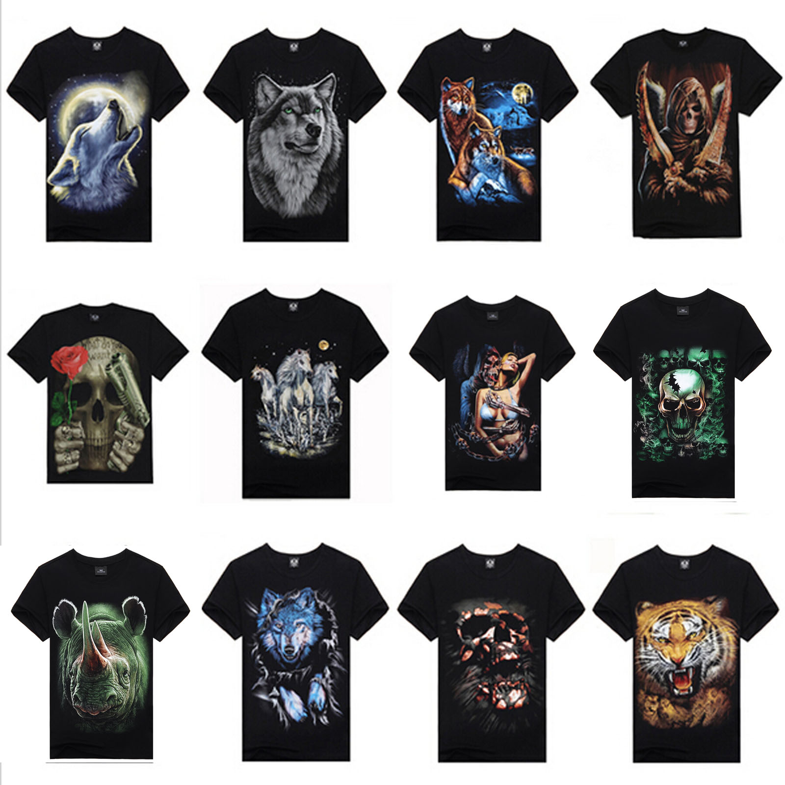 652098f49f61 Top Quality Summer New Brand Men s Cotton Short Sleeve T-Shirt Fashion  O-Neck Casual Skull Wolf  73175