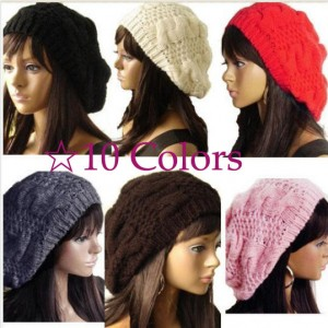 4afe179cc4e72d Hot Sale Fashion Handmade 10 Colors Warm Winter Women Beret Braided Baggy  Beanie Wool Crochet Hat #57776