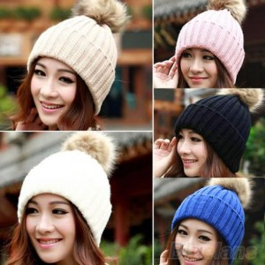 7952379172b0b1 Women Winter Warm Braided Crochet Knitting Hat Girl Beret Ski Beanie Ball  Cap #96737